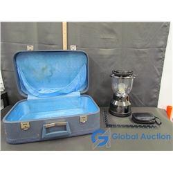 Retro Hard Shell Suitcase, LED Camping Lantern (WORKING), & Binoculars in Case