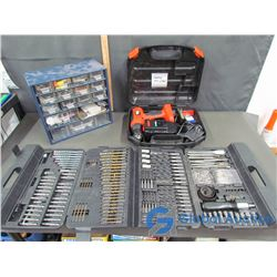 Black & Decker Drill with Case, Assorted Drill Bit Set in Case, & Tin Bolt/Screw Drawers with Access