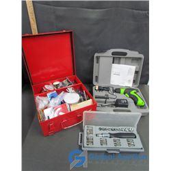 Screw Driver & Bit Set in Case, Kawasaki 4.2 V Screwdriver Set in Case, & Metal Secourisme Case with