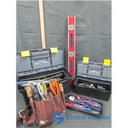 Level, Leather Tool Belt With Tools, & (2) Plastic Tool Cases Filled with Hammers, Files, Sm. Pry Ba