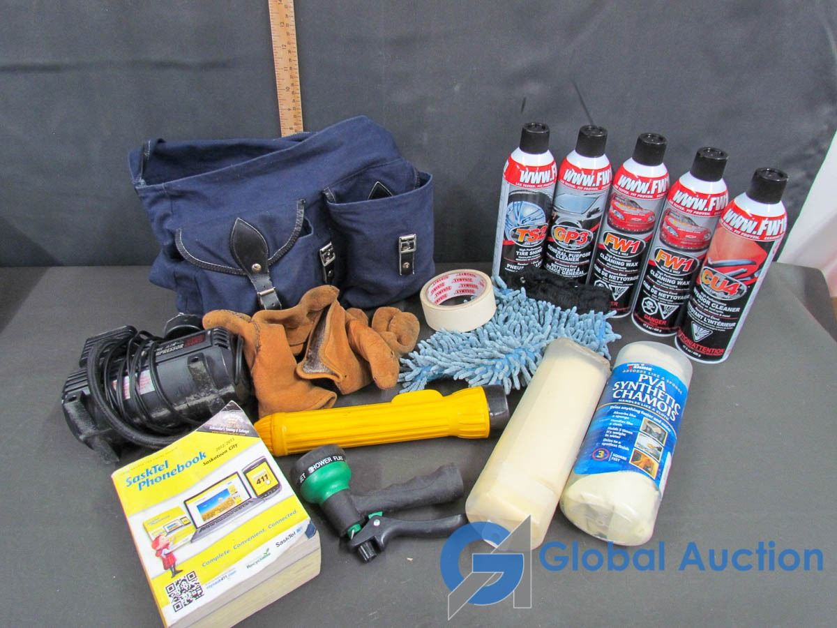 Car Cleaning Supplies >> Mini Air Compressor Cigarette Lighter 5 Can S Of Car Cleaning Supplies Blue Bag Filled With