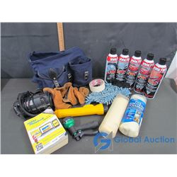 Mini Air-Compressor (Cigarette Lighter), (5) Can's of Car Cleaning Supplies, & Blue Bag Filled With: