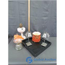Aladdin Oil Lamp, Glass Base Oil Lamp, Blk. Wooden Tray, (2) Tealight Lamps & Sack Planter Pot