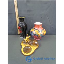 (2) Ceramic Decor, & Wild Life Ashtray