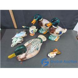 Assorted Ceramic Duck/Bird Figurines & Turkey Salt/Pepper Shakers