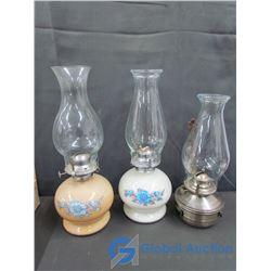 (2) Glassware Oil Lantern (Flower Print) & Tin Wall Oil Lamp