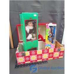 "Vintage Doll Case with Porcelain Doll & ""Sandi"" Doll"