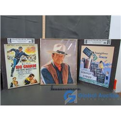 Framed John Wayne Picture, & (2) Collector Advertisment Metal Signs(Lithographed Steel Metal)