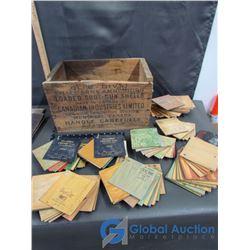 """Vintage Tile Samples, & Wood Crate""""Maxum Long Range"""""""