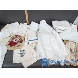 Assorted Placemats, Doilies, Runners, Tablecloths, & Etc.