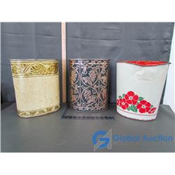 (3) Tin Garbage Cans
