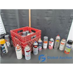 Milk Crate Full of Auto Spray Paint Cans: Enamel Engine, Acrylic Enamel Spray Paint, Farm & Implemen