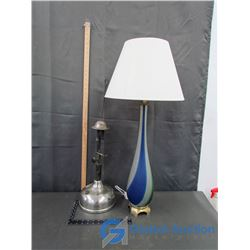 Coleman OQ Quick-Lite Lamp, & Electric Glass Based Lamp (NOT ON SHELF/ IN FRONT)