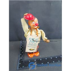 Vintage Wind Up Tin Clown Toy