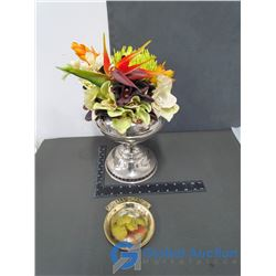 "Metal Vase Flower Arrangment Decore, & Brass ""Small Change"" Plate"