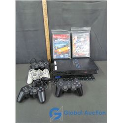 Play Station 2 with Memory Card, (4) Controllers, Cables, & Games