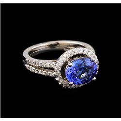2.35 ctw Tanzanite and Diamond Ring - 14KT White Gold