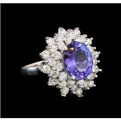 14KT White Gold 5.05 ctw Tanzanite and Diamond Ring