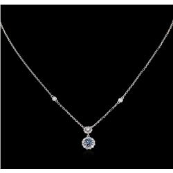 0.36 ctw Blue Diamond Necklace - 14KT White Gold