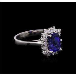 1.91 ctw Tanzanite and Diamond Ring - 14KT White Gold
