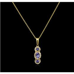 0.56 ctw Tanzanite and Diamond Pendant With Chain - 14KT Yellow Gold