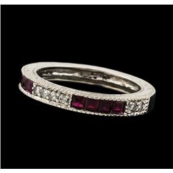 0.35 ctw Ruby and Diamond Ring - 14KT White Gold