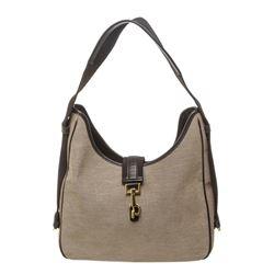 Gucci Beige Canvas Black Leather Trim Jackie Shoulder Bag