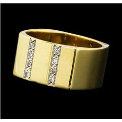 0.10 ctw Diamond Square Band - 14KT Yellow Gold