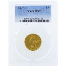 1897-S $5 Liberty Head Half Eagle Gold Coin PCGS MS62