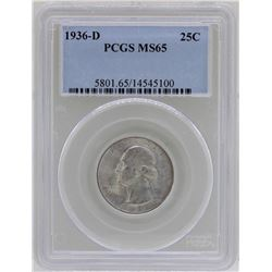 1936-D Washington Silver Quarter Coin PCGS MS65