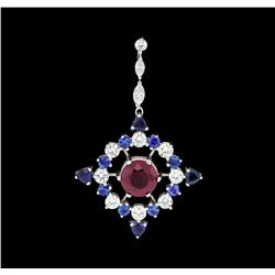 2.22 ctw Ruby, Sapphire and Diamond Pendant - 14KT White Gold