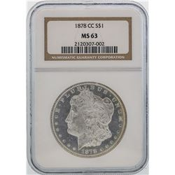 1878-CC $1 Morgan Silver Dollar Coin NGC MS63