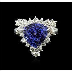 14KT White Gold 4.82 ctw Tanzanite and Diamond Ring