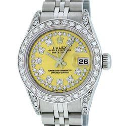 Rolex Ladies Stainless Steel 26MM Yellow String Diamond Lugs Datejust Wristwatch