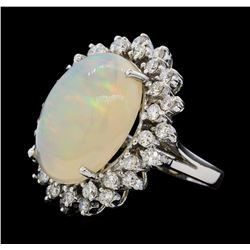12.57 ctw Opal and Diamond Ring - 14KT White Gold