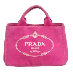 Prada Pink Canvas Canapa Shopping Tote Bag