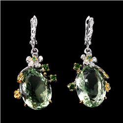Natural Oval 19x14mm Handmade Green Amethyst Earrings