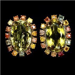 Natural Lemon Quartz & Sapphire 31.66 Ct Earrings