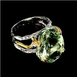 Natural Handmade 20x15 mm Green Amethyst Ring