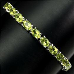 Natural 7x5mm Top Rich Green Peridot Bracelet