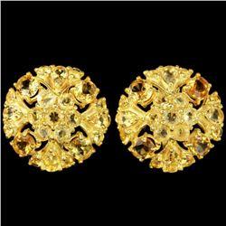 Natural  AAA ORANGISH YELLOW CITRINE Flower Earrings