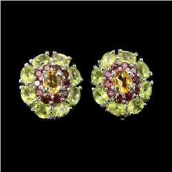 Natural Citrine Peridot Rhodolite Earrings