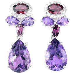 NATURAL PURPLE AMETHYST RHODOLITE GARNET Earrings