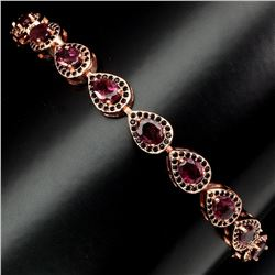 Natural Pink Tourmaline Black Spinel Bracelet