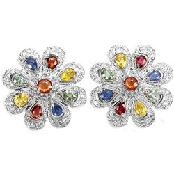 Natural Fancy Color Sapphire 41 Carats Earrings