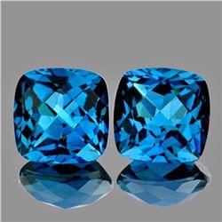 Natural AAA Cushion London Blue Topaz Pair - FLawless