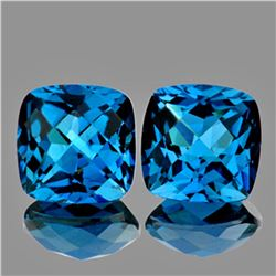 Natural AAA Cushion London Blue Topaz Pair - FLawless