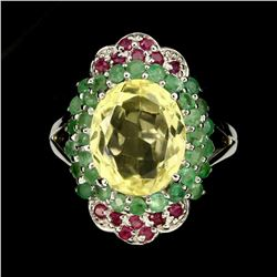 Natural Lemon Quartz Emerald Ruby Ring