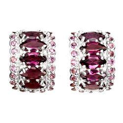 Natural Pink Raspberry Rhodolite Garnet Earrings