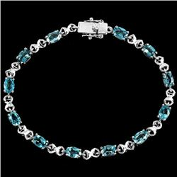 Natural SKY Oval BLUE TOPAZ  Bracelet